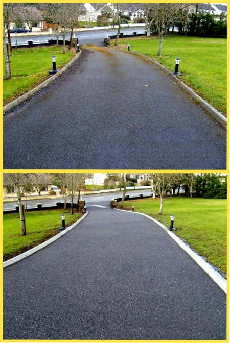 Power Washing - Before and after moss removal from tarmac driveway by P J Cleaning Services, Sligo